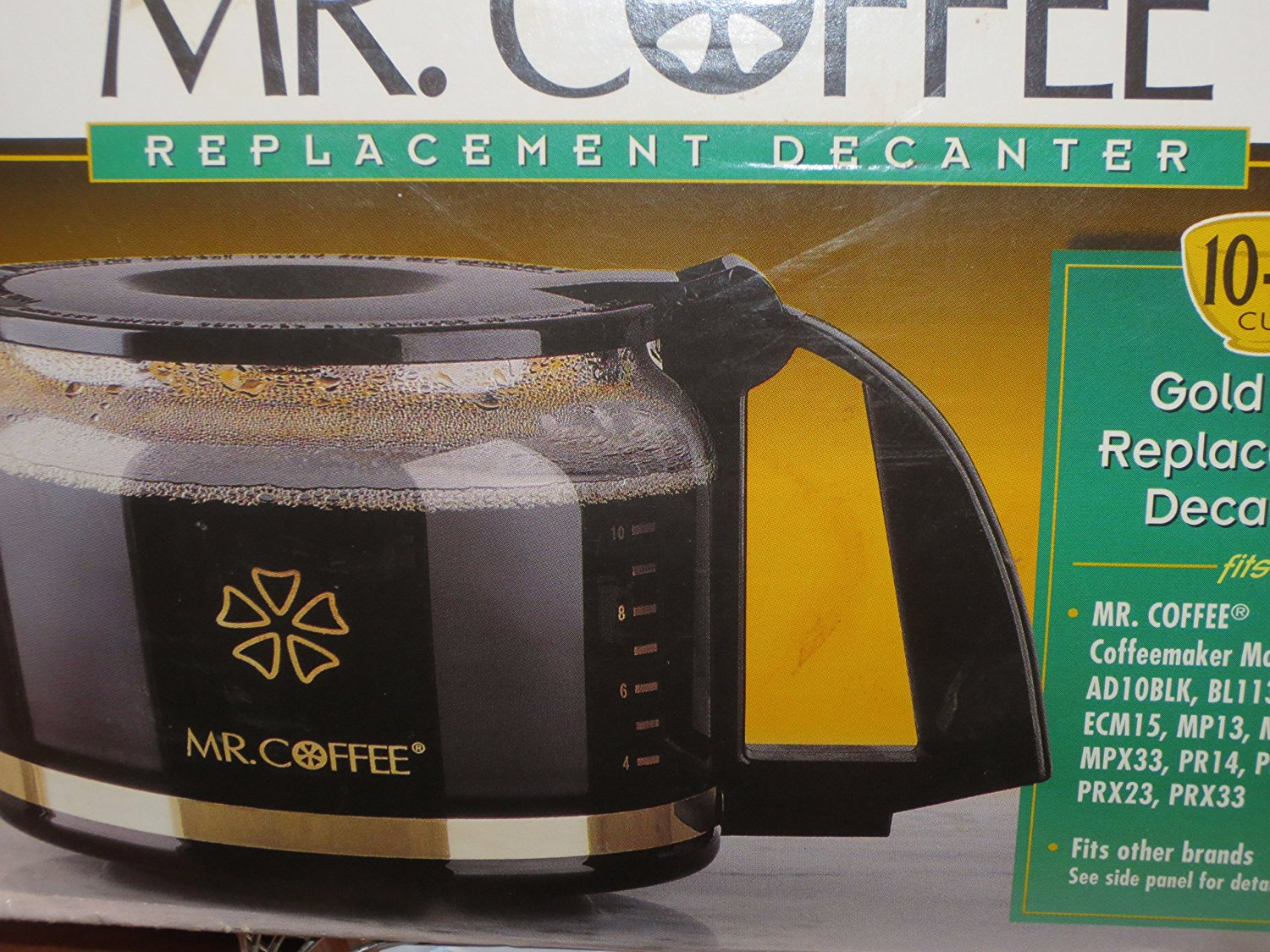 Mr. Coffee 10 - 12 Cup Gold Trim Replacement Carafe